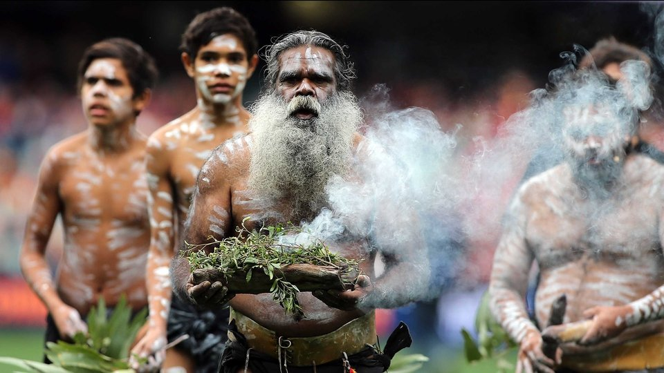 An elder performs the Welcome to Country ceremony during the round 11 AFL match between the Adelaide Crows and the Gold Coast Suns at Adelaide Oval on Sunday