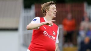 St Patrick's Athletic winger Chris Forrester celebrates scoring his second goal against Drogheda