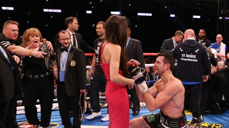 And moments later, Froch shows his romantic side, proposing to girlfriend Rachael Cordingley
