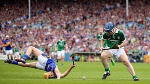 Tipperary's Seamus Callanan comes a cropper with Richie McCarthy of Limerick in their Munster SHC
