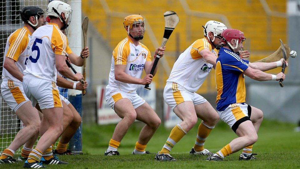 Antrim goalkeeper Chris O'Connell saves a free against Wexford in the Leinster SHC