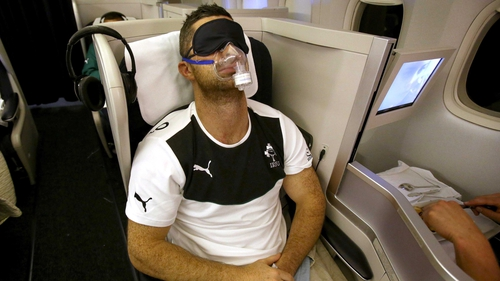 Rob Kearney getting a serious snooze on the flight to Argentina for Ireland's summer tour