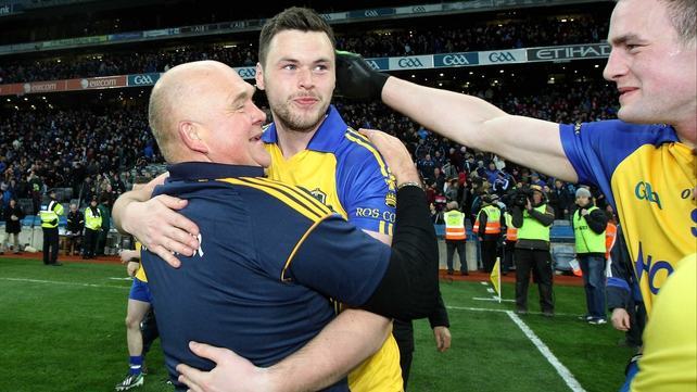 John Evans celebrates Roscommon's 1-17 to 0-18 victory over Cavan in the Division 3 league final
