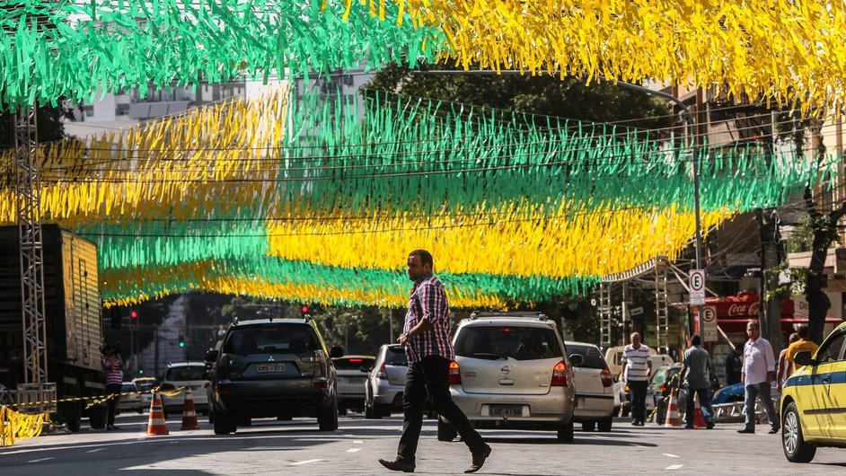 A Rio de Janeiro street ornate with Brazilian flag colours eight days before the beginning of the FIFA World Cup