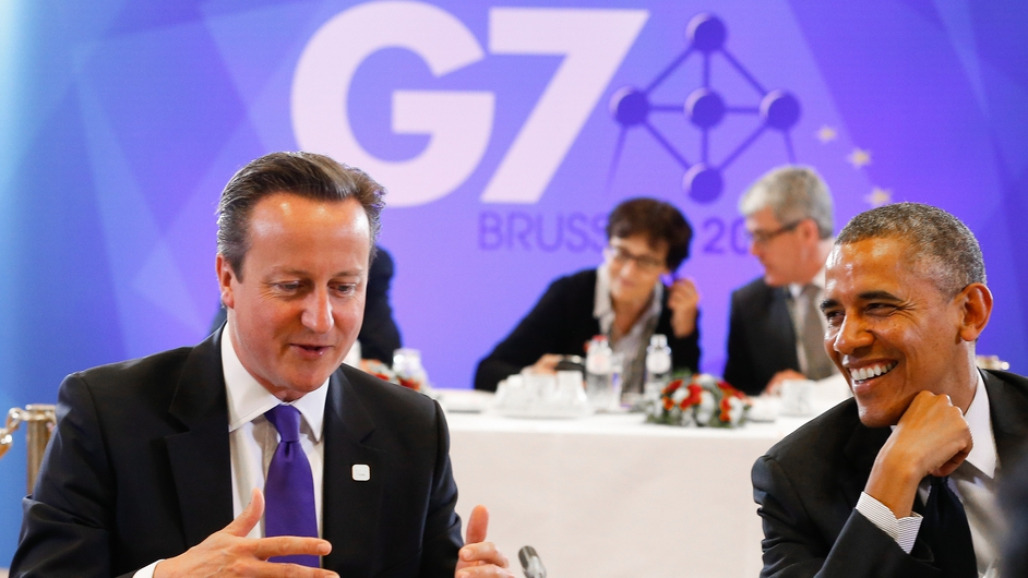 British Prime Minister David Cameron and US President Barack Obama at the start of the G7 Summit at the EU Council headquarters in Brussels, Belgium