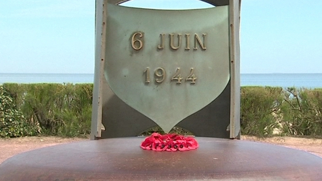 A commemorative plaque to the events of 6 June 1944 at Normandy, France