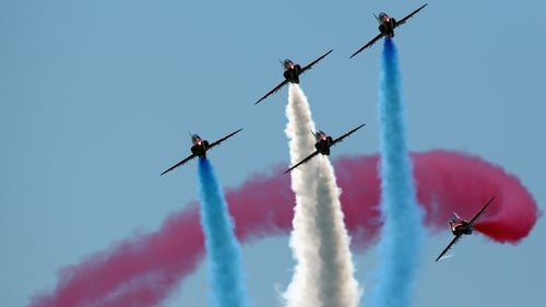 The Red Arrows display team perform over Southsea Common at the end of a commemoration service of the D-Day landings