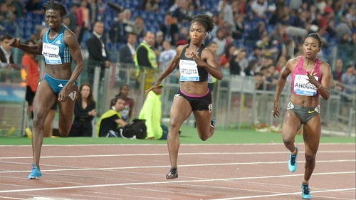 Tori Bowie (left) set a new personal in the 100m in Rome