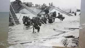 Allied soldiers landing on Juno Beach