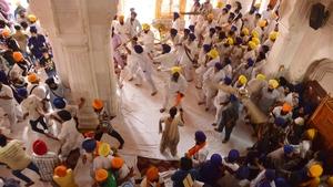 Sikh activists clash with members of the Shiromani Gurudwara Prabhandak Committee (SGPC)