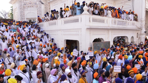 Hundreds of Sikhs gathered at the shrine to pay their respects to those killed in an army raid in June 1984