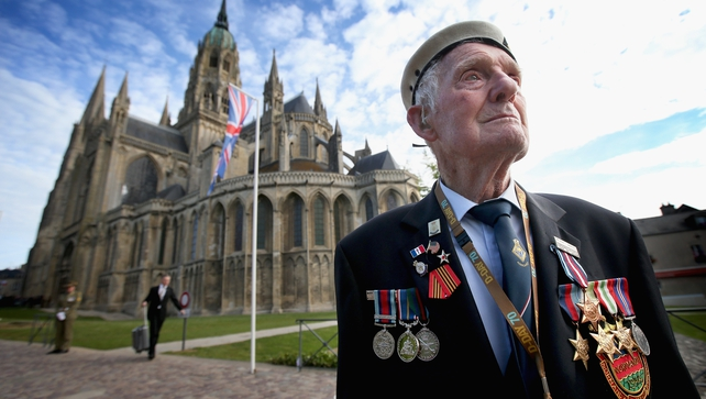 88-year-old D-Day veteran Victor Walker arrives at Bayeux Cathedral for a remembrance service