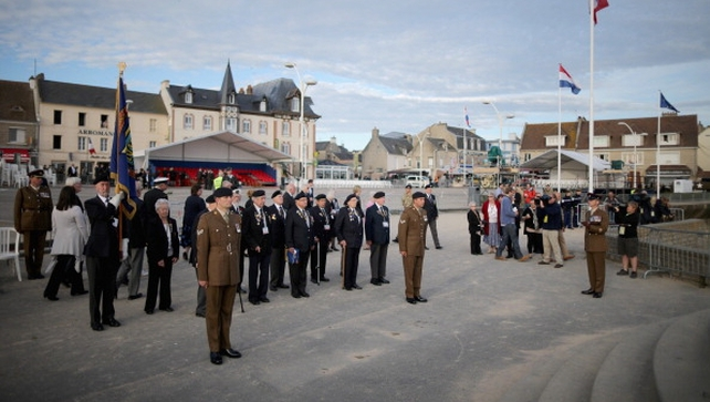 D-Day veterans from the Surrey Normandy Veterans Association take part in the last ever flag raising ceremony