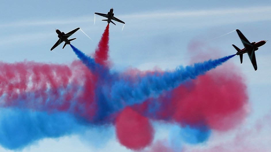 The Red Arrows display team perform over Southsea Common at the end of a commemoration service of the D-Day landings  in Portsmouth, England