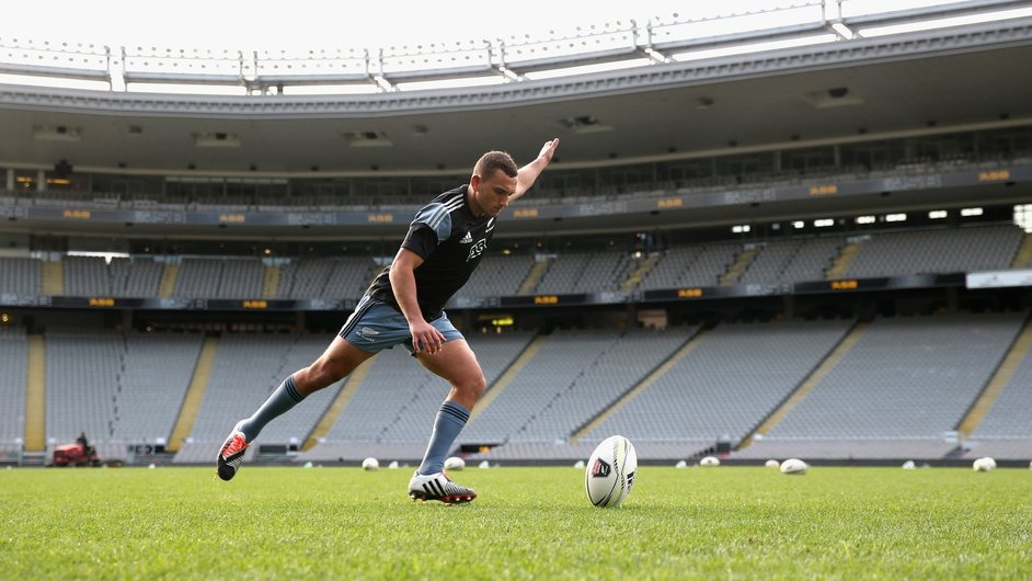 Aaron Cruden practices kicking during the New Zealand All Blacks Captain's Run at Eden Park, Auckland, New Zealand