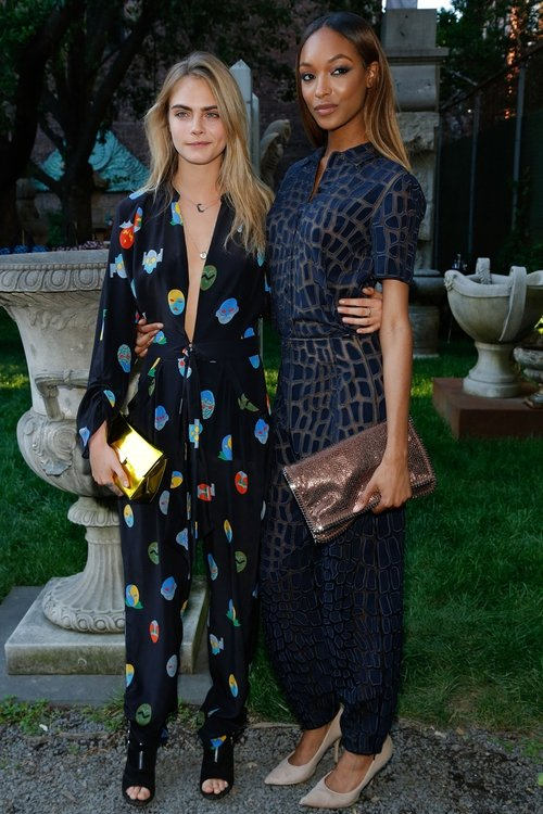 Models Cara Delevingne and Jourdan Dunn attend the Stella McCartney Spring 2015 Presentation.