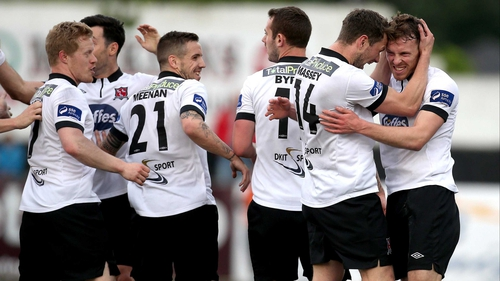 Dundalk celebarate David McMillan's opener at Oriel Park