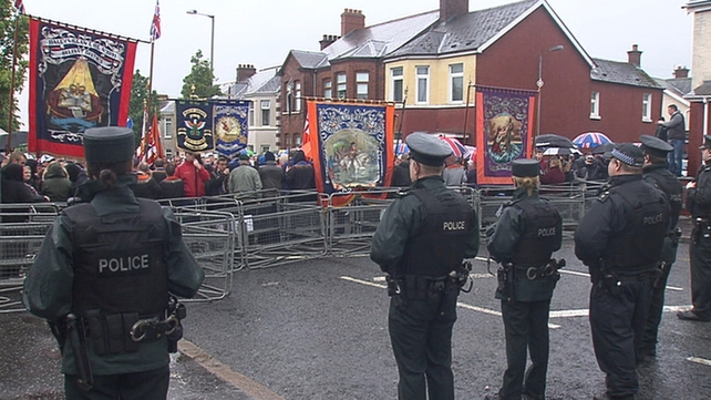 Police blocked the road at Twaddell Avenue near the interface to stop the march proceeding any further
