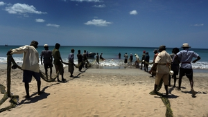 Two groups of Sri Lankan fishermen pull ashore traditional nets east of Colombo