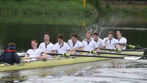 Queen's University Belfast senior eight celebrate victory over Trinity College Dublin in Belfast boat race