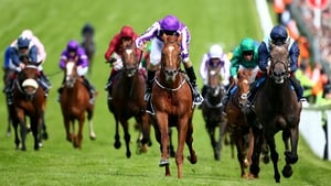 Joseph O'Brien riding Australia (2nd R) wins The Investec Derby at Epsom