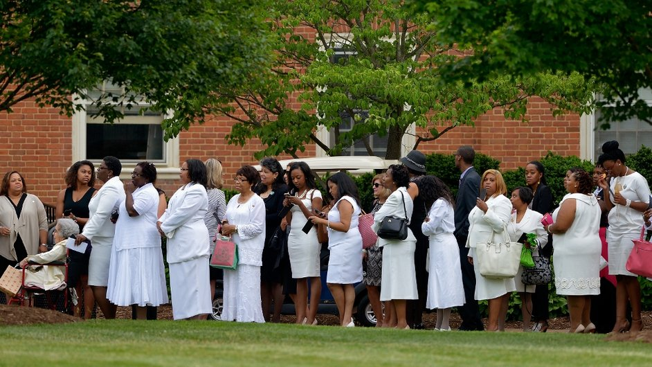 Mourners stand in line to enter Wait Chapel for the Maya Angelou Memorial Service at Wake Forest University in Winston Salem, North Carolina