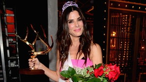 Bullock with her Decade of Hotness award from the Guy's Choice Awards 2014