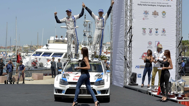 The win was Ogier's (r) fourth of the season