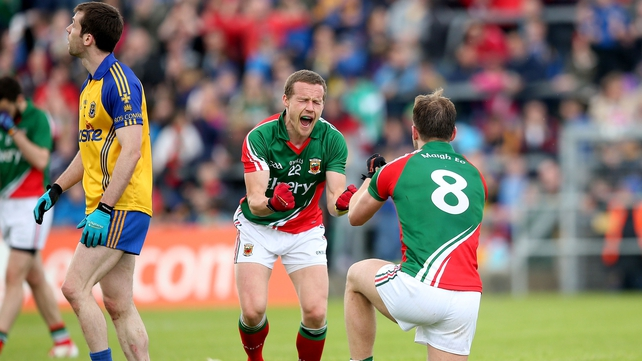 Mayo forward Andy Moran shows his delight at the final whistle in Hyde Park