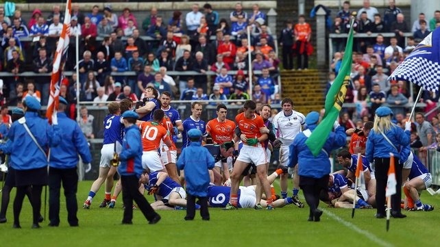 Armagh and Cavan players prior to their Ulster Championship game