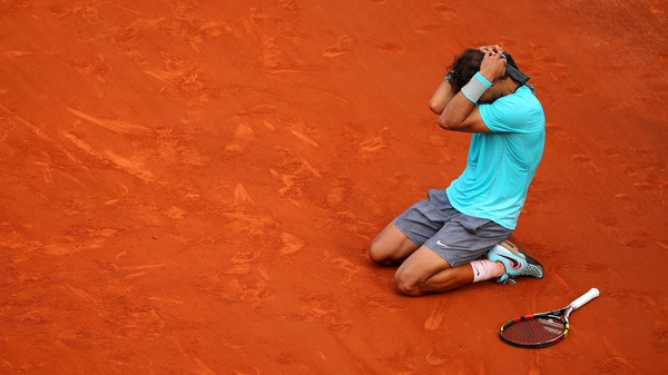 Rafael Nadal celebrates his fifth French Open win in a row