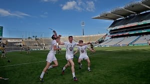 Kildare's Eanna O'Neill (c) celebrates with his team-mates at the final whistle of the Christy Ring Cup final