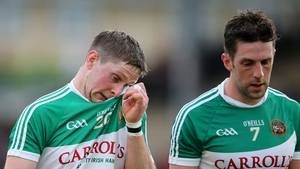 Dejection written over the faces of Chris McDonald and Cathal Parlon after Offaly's 5-32 to 1-18 loss to Kilkenny