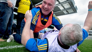 Longford manager Frank Browne celebrates at the final whistle after winning the Lory Meagher Cup