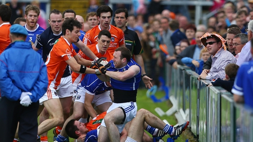 Ugly scenes broke out during the parade at the Athletic Grounds