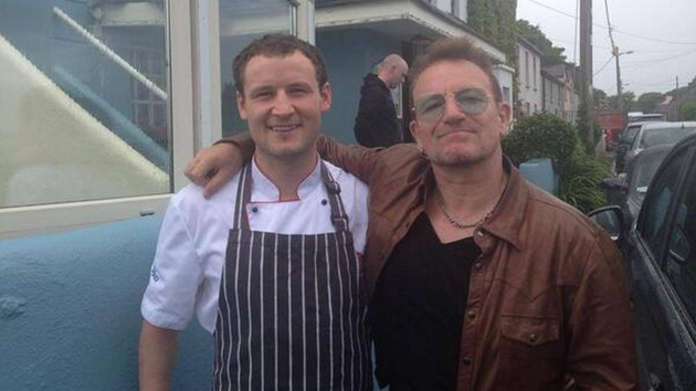 Even batter than the real thing: Chef Keith Cqrden with Bono yesterday afternoon (June 8)