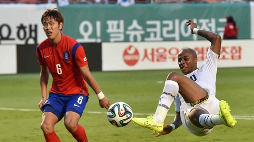 Midfielder Andre Ayew shoots on goal for Ghana in their 4-0 rout