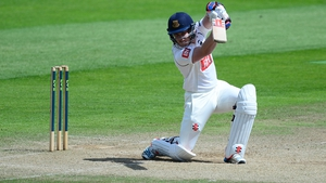A Sussex player bats during a County Championship Division One match between Somerset and Sussex in Taunton, England