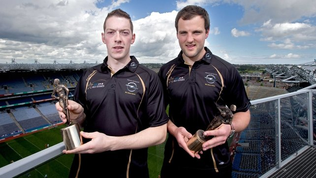 Laois hurler Stephen Maher (L) and Donegal footballer Michael Murphy with their awards at Croke Park