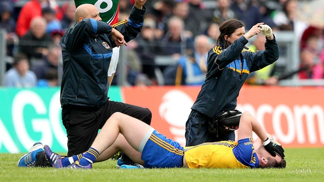 Donie Shine left the field injured against Mayo