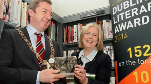Dublin City Councillor Oisín Quinn with Dublin City Librarian, Margaret Hayes, at the announcement of the Impac shortlist in April