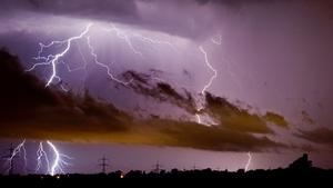 Lightning strikes near Hanover, Germany