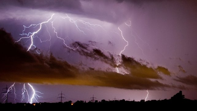 Lightning strikes near Hanover, Germany