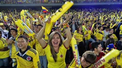 Colombian fans cheer on their squad at a recent World Cup send-off