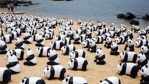 1,600 pandas made with recycled papers are exhibited in Hong Kong to raise awareness of endangered animals