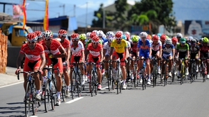 Pishgaman Yazd Iranian cyclists lead stage 4 of the 2014 Tour de Singkarak in Padang, Indonesia