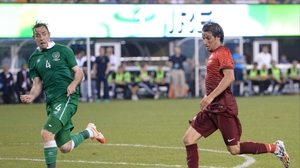 Richard Keogh (L) in action against   Fabio Coentrao on Wednesday
