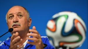 Brazil head coach Luiz Felipe Scolari speaks at his final pre-World Cup press conference