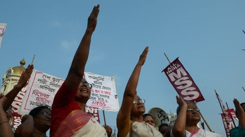 Protesters at a demonstration against rape earlier this week in Baduan