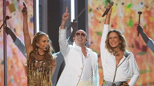 Jennifer Lopez with Pitbull and Claudia Leitte at the World Cup opening ceremony
